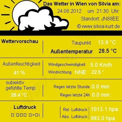 Aktuelles Wetter in Wien 10. Private Wetterdaten von Silvia und Kurt, erstellt mit der Wetterstation WS 3650it. Dieses Bild wird automatisch alle 5 Minuten aktualisiert